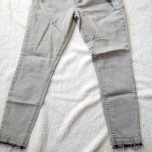 Current/Elliott Grey Frayed Hem Distressed Jeans